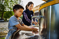 Washing hands at the elementary school of Hongcheon