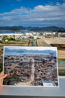 This picture shows Miyako bay after the 9.0 magnitude earthquake hit the region in 2011  and how reconstruction progress.