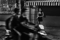 A sex worker at work on the street of Hanoi, Viet Nam.