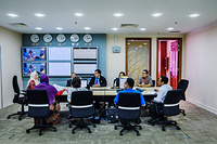 A meeting at National Crisis Preparedness Response Centre at the Ministry of Health