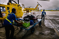 The Flying Doctor Service was introduced in 1973 to provide basic health services to people living in remote areas. The helicopters are based in Kuching, Sibu and Miri and together, they cover 141 locations in the remote rural with a attends of about 70 000 outpatients, children and antenatal mothers every year. The Flying Doctor team comprises a medical officer, a medical assistant and two community nurses who visit the locations once a month or once in two months. The Flying Doctor Service also provides medical emergency evacuation (MEDEVAC) of seriously ill patients from the locality to the nearest appropriate hospital, from rural health clinics to hospital and from hospital to hospital. It also served as cargo run to rural health clinics in delivering medical items and drugs. During disease outbreak in the state, the Flying Doctor Service helicopters are also used for quick transportation of field investigation and control medical and health teams.