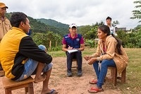 Health workers and villagers at measles and rubella vaccination campaign. Nationwide Measles and Rubella Campaign in Lao People's Democratic Republic, 17- 30 November 2014.