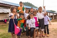 Children showing off their finger markings following vaccination. Nationwide Measles and Rubella Campaign in Lao People's Democratic Republic, 17- 30 November 2014.