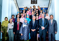 Group photo with the Institution of Health Management in Kuala Lumpur, Malayisa with (from bottom rightmost) Dr Ki Dong Park, Executive Officer, Country Support Unit, Dr Graham Perry Harrison, WHO Representative in Malaysia and  Dr Shin Young-soo, WHO Regional Director for the Western Pacific. Note: Titles of staff/delegates reflect their respective position at the time the photo was taken.