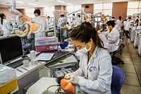 Dental care practical class at Seoul National University School of Dentistry