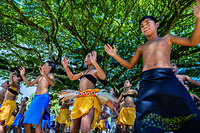 Students from a secondary school practicing traditional dance for the cultural festival in Rarotonga.