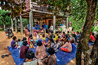 Health workers prepare for a vaccination session at a local clinic in Siem Reap