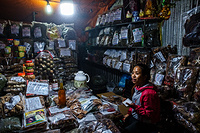 A lady selling traditional herbal medicine at one of the touristic sites in Vinh Phu Province.