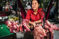 Butcher's shop at the food market in Phnom Penh