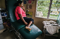 WOman with diabetes waiting for foot care at the Colonial War Memorial hospital