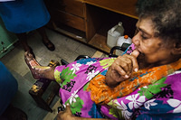 A diabetic patient receives a foot care at the Wain Bokasi Hospital in Suva, Fiji