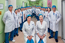 Health workers at a hospital in Mongolia.